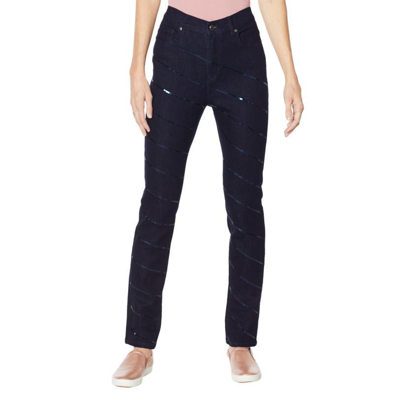 DG2 by Diane Gilman Sequin Stripe Skinny Jean - Basic