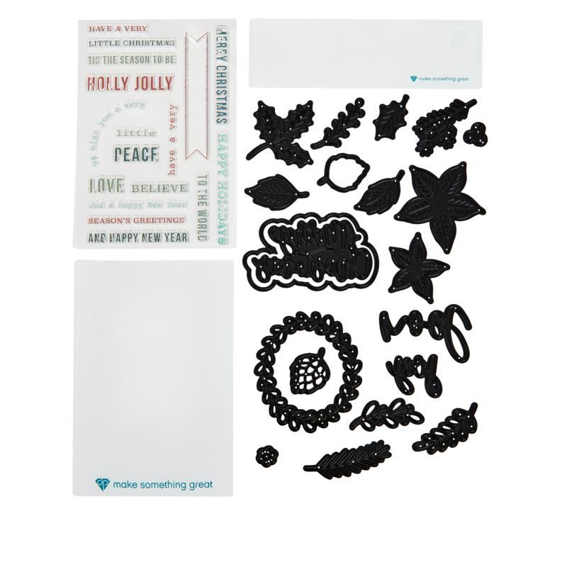 Diamond Press Christmas Foliage  Stamp and Die Set