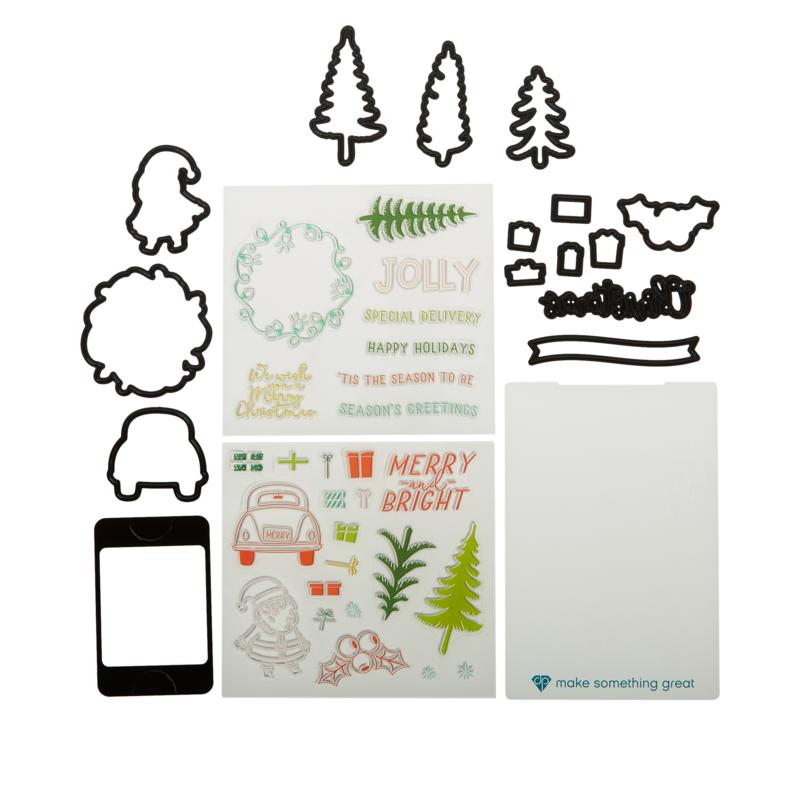Diamond Press Christmas Gift Card Holder Stamp & Die Kit