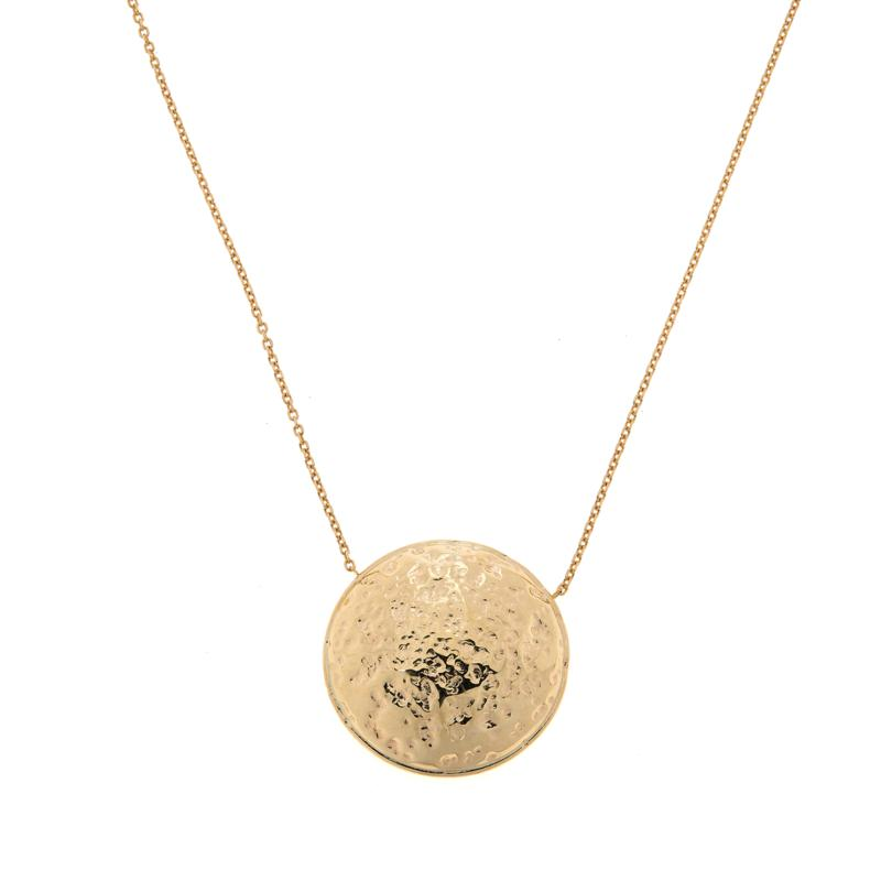 "Dieci 18"" 10K Gold Hammered Rolo Chain Pendant Necklace"