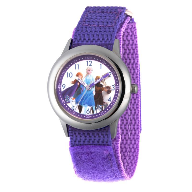 Disney Frozen 2 Characters Kids' Stainless Steel Watch w/ Purple Strap