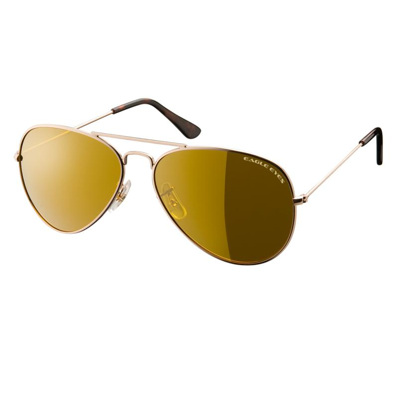 Eagle Eyes Classic Aviator Gold TriLenium Polarized Sunglasses