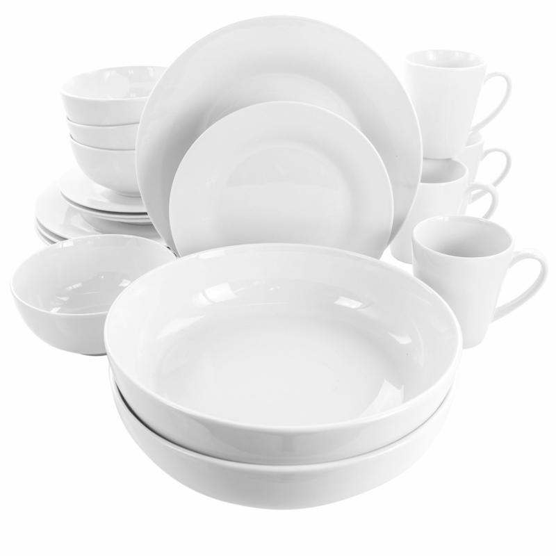 Elama Carey 18-Pc Round Porcelain Dinnerware Set in White