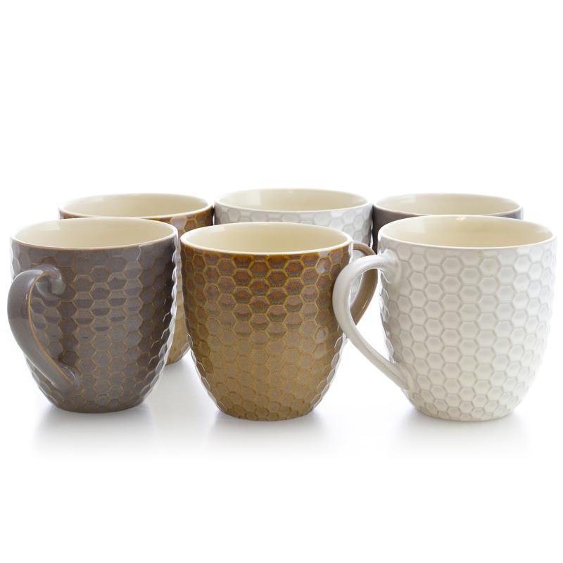 Elama Honeycomb 6-piece 15 oz. Mug Set - Assorted Colors
