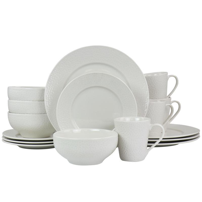 Elama Jasmine 16pcs Porcelain Dinnerware Set in White