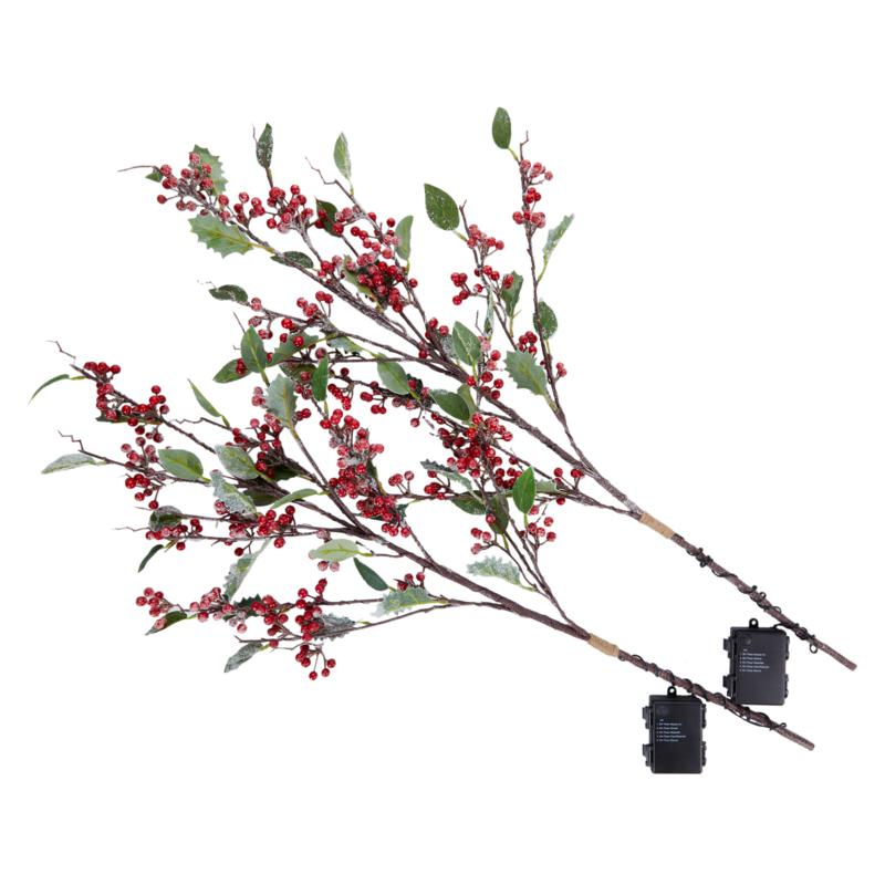Evergreen Estates Pre-Lit Holly Branches with Berries 2-pack