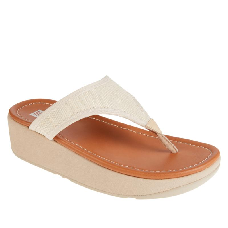 FitFlop Lulu Straw Toe-Post Wedge Sandal