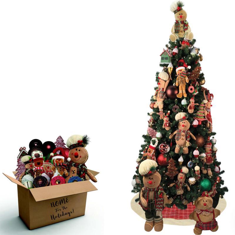 Fraser Hill Farm 152pc Gingerbread Decor Set/7.5' Prelit Canyon Pine