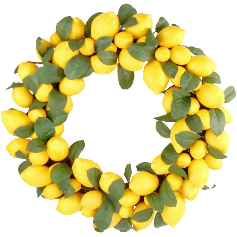 "Fraser Hill Farm 22"" Faux Lemon Wreath with Leaves"