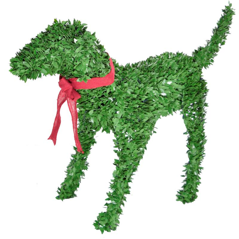 """Fraser Hill Farm 28"""" Boxwood Puppy Topiary Garden Statue, No Lights"""
