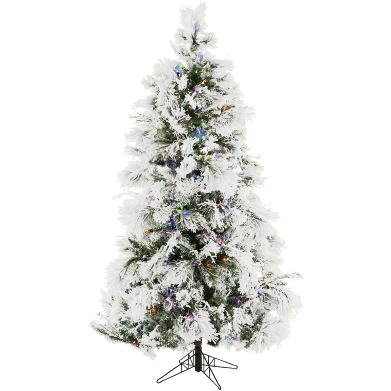 Fraser Hill Farms 7-1/2' Flocked Snowy Pine Tree - Multicolor