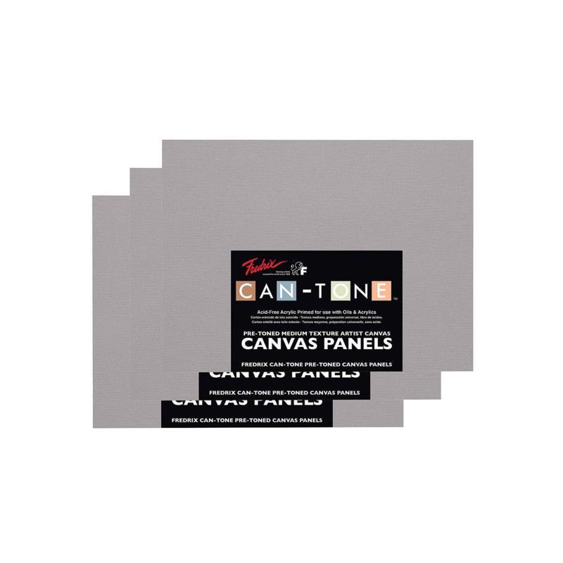 "FREDRIX Can-Tone Tara Gray Canvas Panels 3-Pack 12"" x 16"""