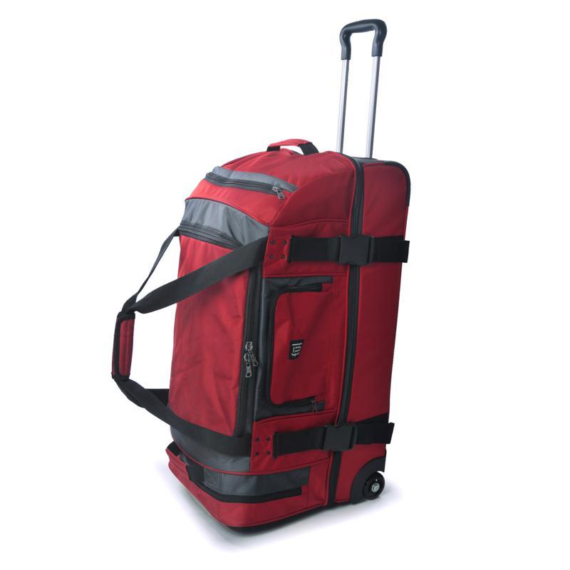 """FUL Rig 30"""" Rolling Duffel Bag - Red/Grey"""
