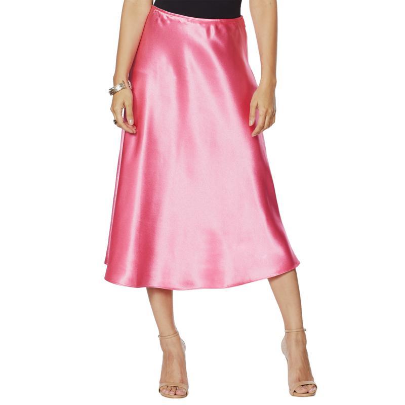 G by Giuliana Black Label Bias-Cut Satin Skirt