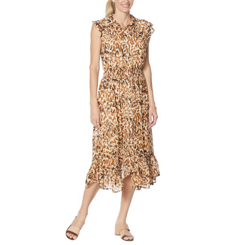 G by Giuliana Printed Chiffon Button-Front Dress
