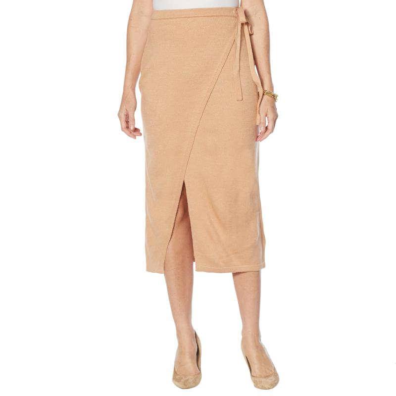 G by Giuliana Sweater Knit Faux Wrap Pencil Skirt