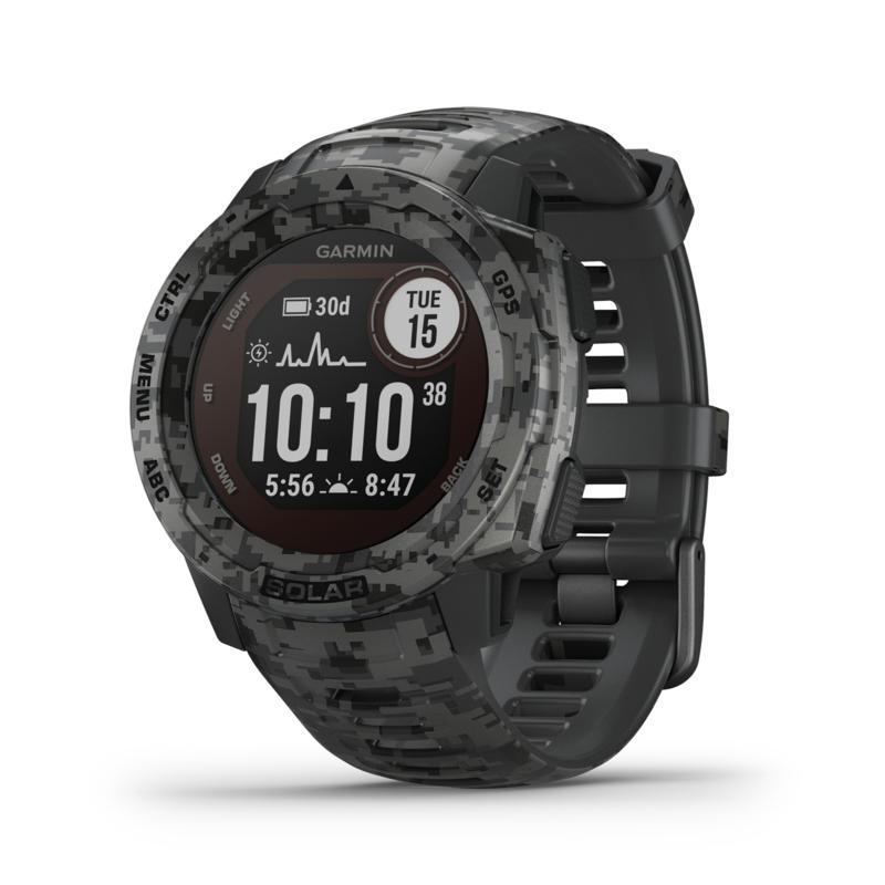 Garmin Instinct Solar Camo Edition GPS Smartwatch (Graphite Camo)
