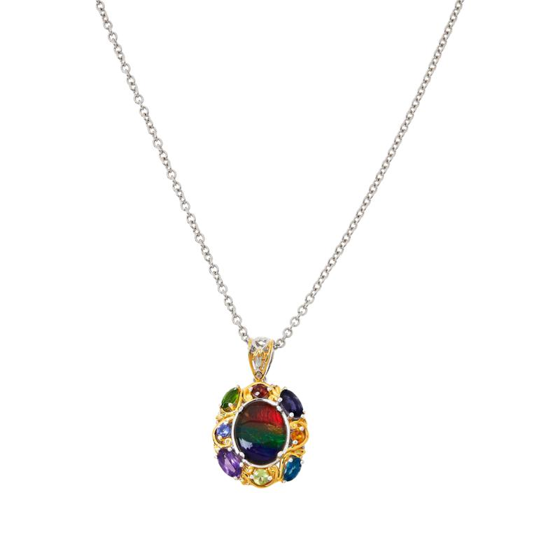 Gems by Michael Ammolite and Multigemstone Pendant with Chain