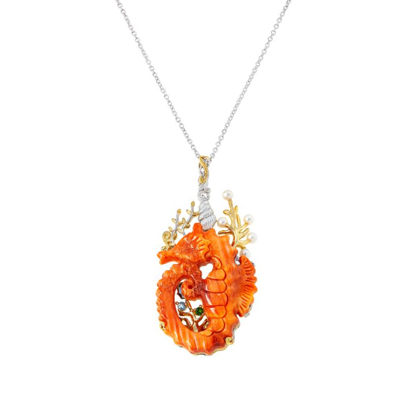 Gems by Michael Multigemstone Carved Shell Seahorse Pendant with Chain