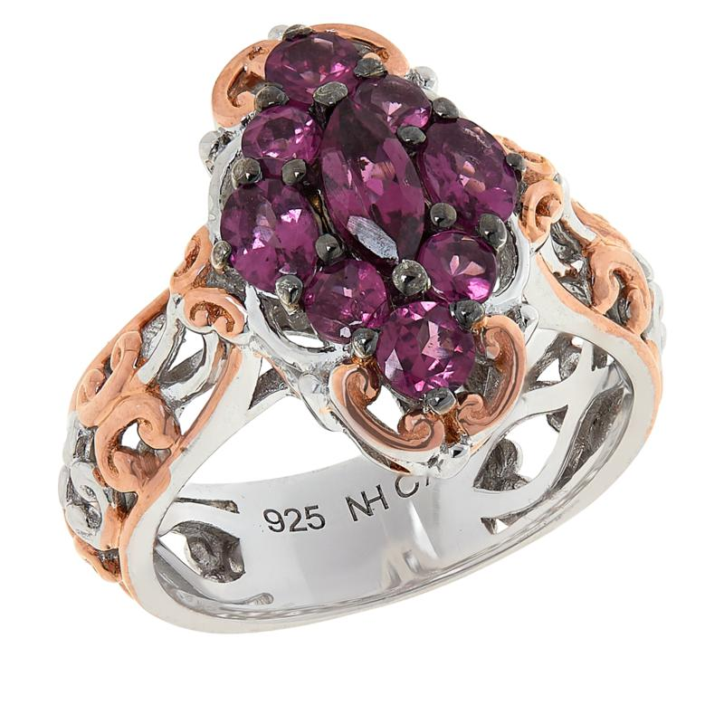 Gems by Michael Sterling Silver Color-Changing Garnet Cluster Ring