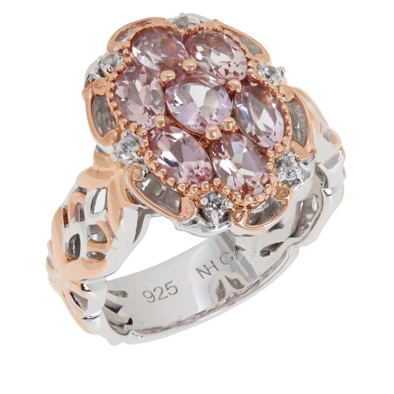 Gems by Michael Sterling Silver Morganite and White Zircon Ring