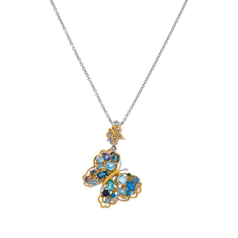 Gems by Michael Sterling Silver Multigemstone Butterfly Pendant