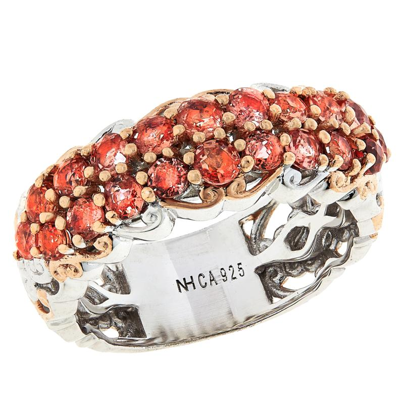 Gems by Michael Sterling Silver Padparadscha Band Ring