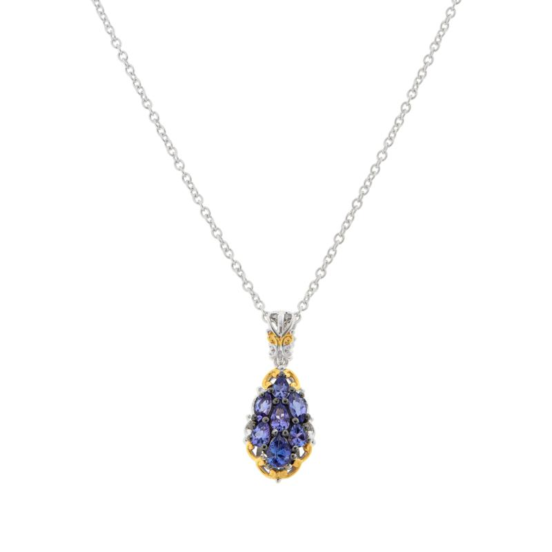 Gems by Michael Sterling Silver Tanzanite Cluster Pendant with Chain