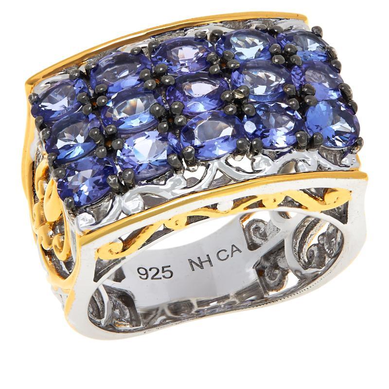 Gems by Michael Tanzanite Three-Row Scrollwork Ring