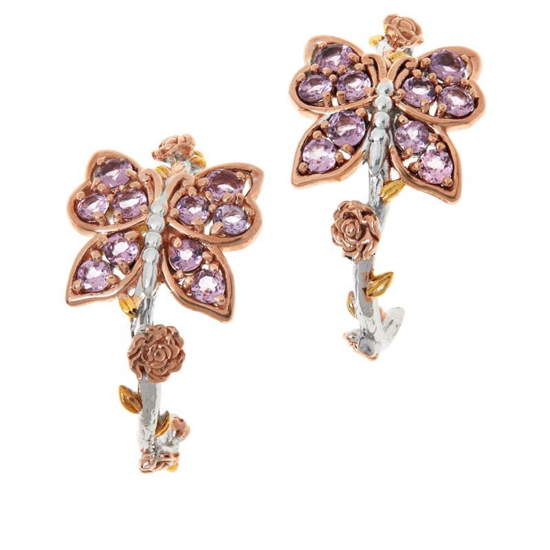 Gems by Michael Valitutti Pink Spinel Butterfly Hoop Earrings