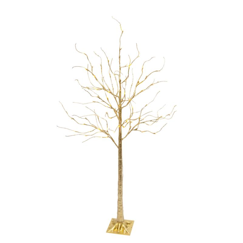 """Gerson 70.8""""H Electric Gold Tree with 88 Warm White Micro LED Lights"""