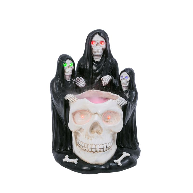 """Gerson Company 22.83""""H UL Electric Lit Grim Reapers with Smoking Skull"""
