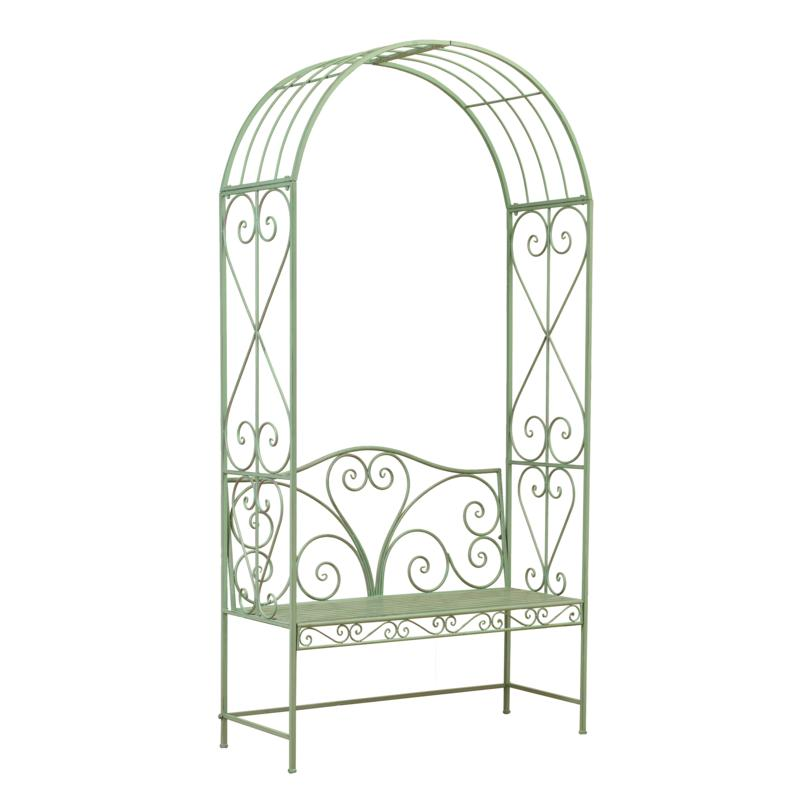 """Gerson Company 90.5""""H Antique Green Metal Arch with Bench"""