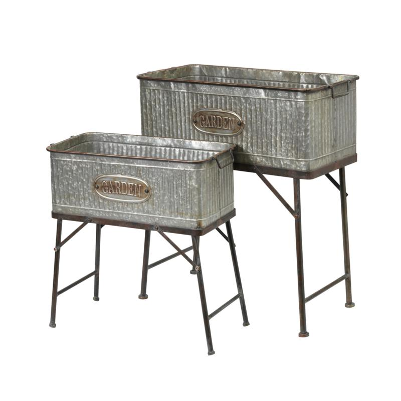 Gerson Oversized Galvanized Metal Plant Holders with Stands 2-pack