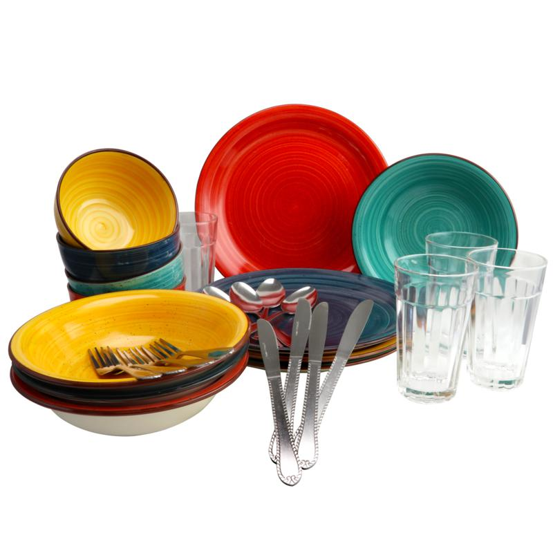 Gibson Color Speckle 28 Piece Mix and Match Dinnerware Combo Set