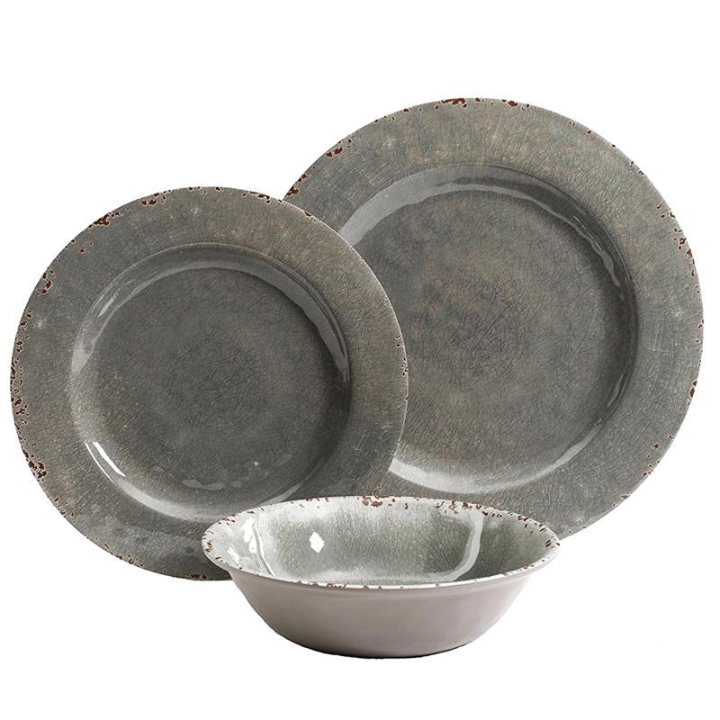 Gibson Home Meilee 12-piece Melamine Dinnerware Set in Gray Crackle