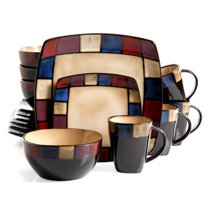Gibson Soho Lounge Mosaic 16 Piece Soft Square  Dinnerware Set