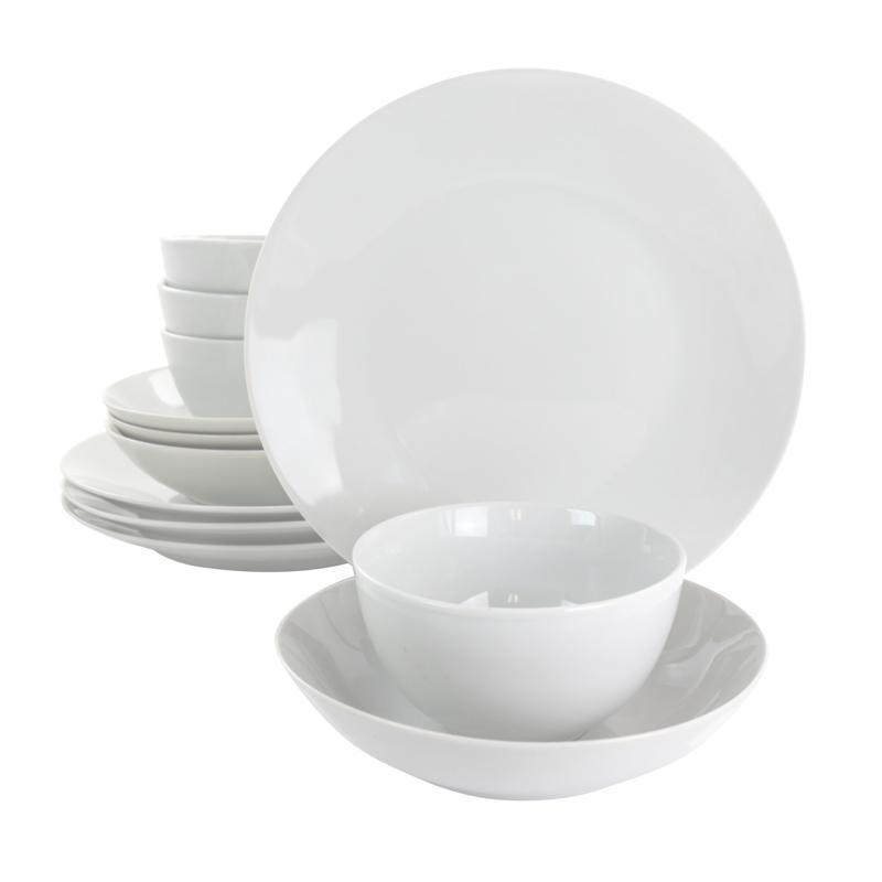 GibsonHome Classic Pearl 12-Pc Round Fine Ceramic Dinnerware Set White
