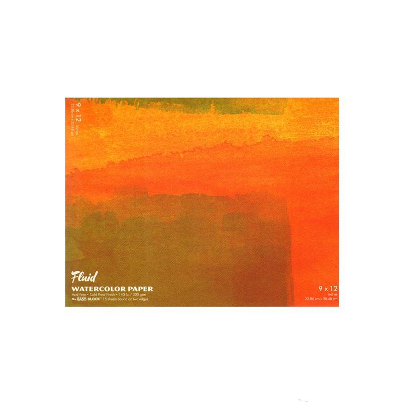 Global Art Fluid Cold Press Watercolor Paper Block - 15 sheets, 9 x 12