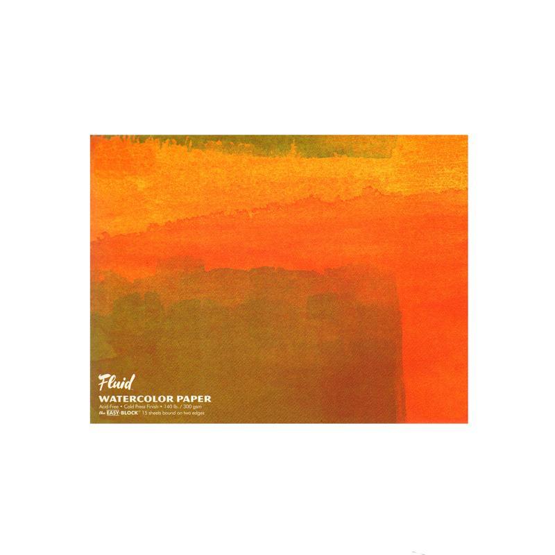 Global Art Fluid Cold Press Watercolor Paper Block- 15 sheets, 18 x 24
