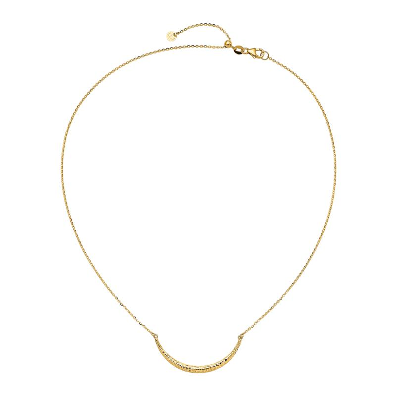 Golden Treasures 14K Diamond-Cut Curved Bar Adjustable Necklace