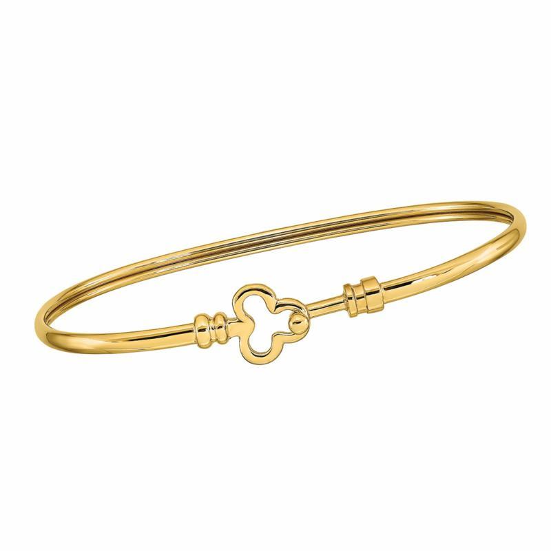 Golden Treasures 14K Gold Polished Flexible Clover Bangle Bracelet