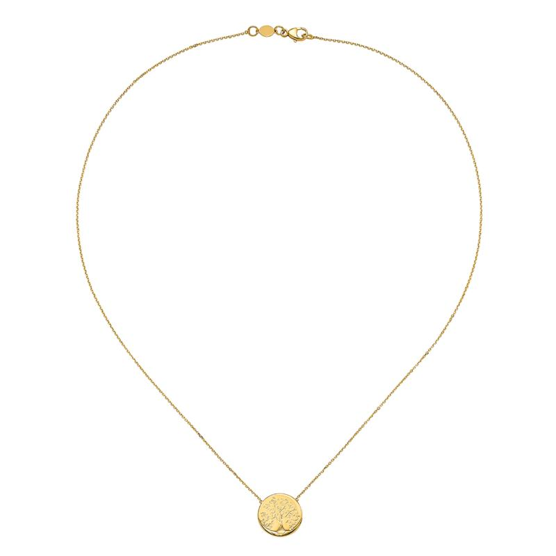 Golden Treasures 14K Gold Polished Tree of Life Necklace