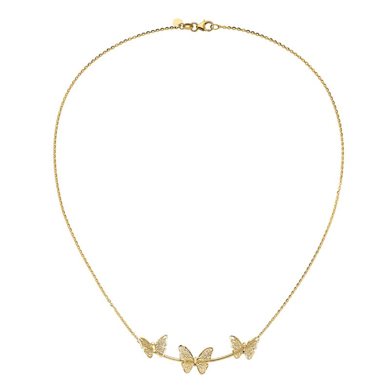 "Golden Treasures 18"" 14K Gold Polished Filigree 3-Butterfly Necklace"