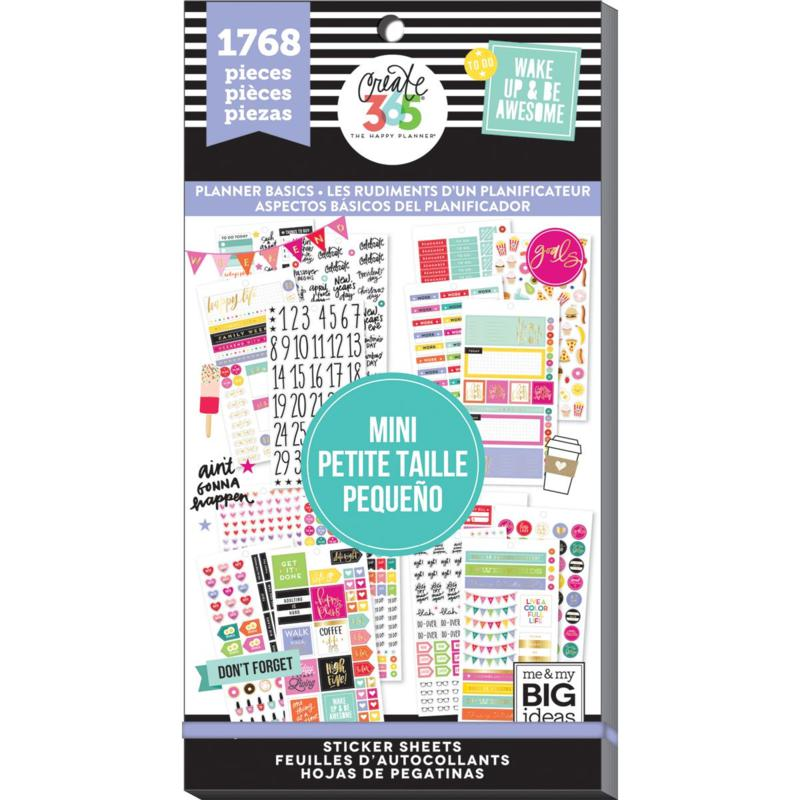 Happy Planner Sticker Value Pack - Planner Basics - Mini, 1768-pack