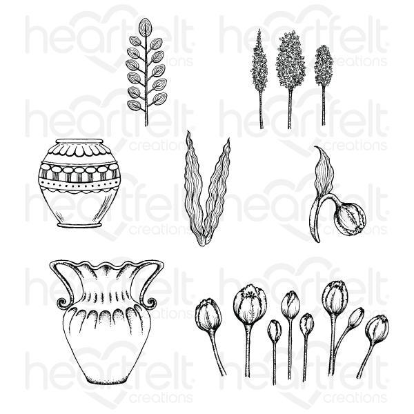 Heartfelt Creations Tulip Vase & Fillers Cling Stamp Set