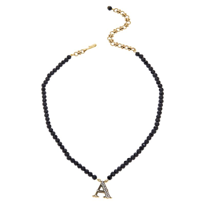 """Heidi Daus 18"""" Crystal-Accented Initial Beaded Necklace"""