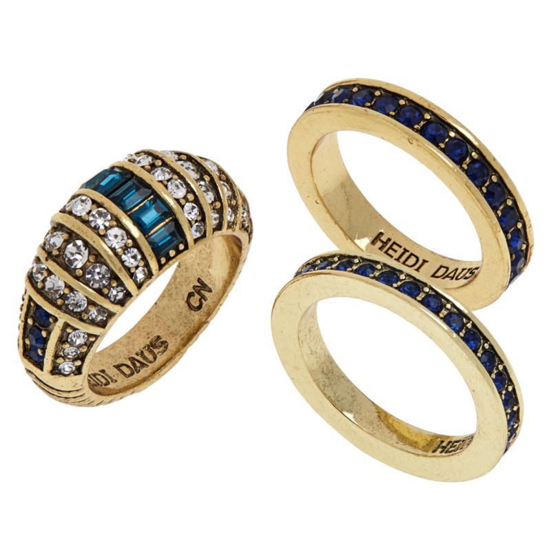 "Heidi Daus ""Refined Elegance"" 3-piece Crystal Ring Set"