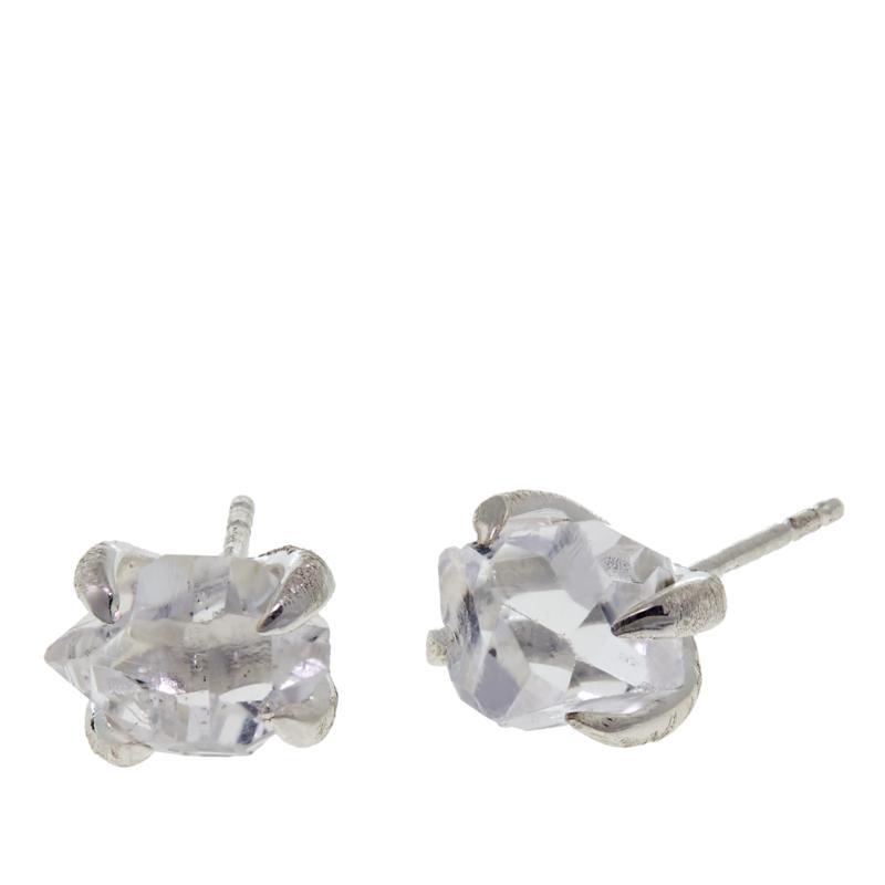 """Herkimer Mines """"Diamond"""" Quartz Freeform Stud Earrings"""