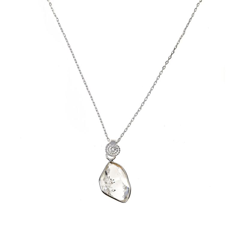 "Herkimer Mines ""Diamond"" Quartz Message Stone Pendant with Chain"